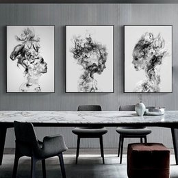 Clouds art modern painting online shopping - 3pcs set Modern Abstract Cloud Smog Girl Portrait Canvas Art Painting Black And White Wall Art Canvas Poster Nordic Minimalist Wall Picture