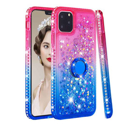 iphone girl silver case Australia - Cute Girls Motion Flow Liquid Glitter Case for iPhone 11 Pro Bling Sparkle Protective Soft Shockproof TPU Womens Ring Stand Cover for 7 8 x