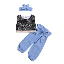China Kids clothing 2019 baby Summer fashion t shirt Top+trousers+Hair baby girl clothes 3 piece Set kids designer clothes girls cheap american hair pieces suppliers