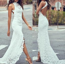 unique backless wedding dresses NZ - Unique Hi-Lo Lace Bridal Wedding Gowns Slim Backless New Arrival High Collar Short Front Long Back Wedding Dresses For Bride