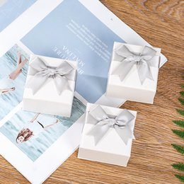 Packaging Bows Australia - Hot sale Manufacturers 1pcs 7*7*4.5cm jewelry packaging box high-end ring box with ribbon bow gift boxes for jewellery