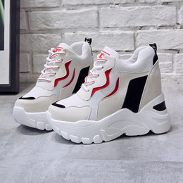 shoes bulk UK - 2019 Trendy Women High Top Boots Femmes Height Increase Shoes 9 S Ladies Tenis Shoes Krasovki Wholesale Bulk Accessories Supplie