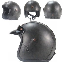 Woman Half Face Helmet Australia - Retro Harlley Helmet 3 4 Half Face Helmet High Quality Leather helmets for man woman Motorcycle scooter