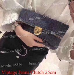 Soft Jeans Australia - Top Quality Women's Vintage Jeans Clutch Bag 25cm Hot Fashion cowboy Handbag 44472 Lady Purse Denim Bags with zipper pocket back