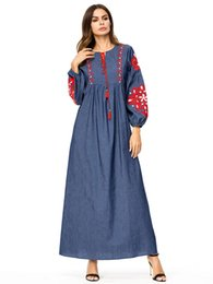 Long Denim Dress Women Muslim Abaya Red Flowers Embroidery Loose Jeans Dress  Ladies Maxi Dresses Kaftan Islamic Robe Plus Size 4XL 43b8b4264c6d