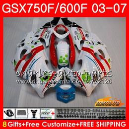 White Katana Australia - Body For SUZUKI KATANA GSXF750 GSX600F GSX750F GSXF600 New red white 3HC.53 GSXF 750 600 03 04 05 06 07 2003 2004 2005 2006 2007 Fairing kit