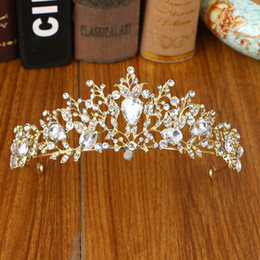 gold crowns for queens Australia - Trendy Gold Color Tiara and Crown For Wedding Hair Accessories Bridal Queen Crown for Brides Hair Accessories HG-087