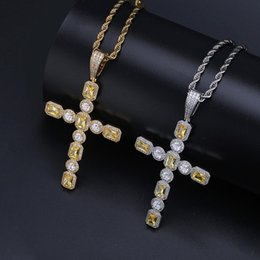 cross white gold men NZ - Hot Selling Fashion Jewelry Yellow White Zircon Gold Plated Personality Retro Cross Pendant Necklace For Men Hip Hop Jewelry Gifts