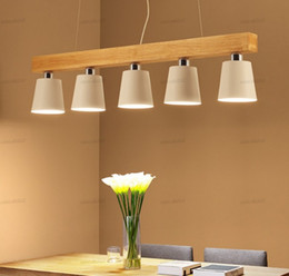 long pendant lights Canada - Modern Pendant Lights Wood LED Kitchen Lights LED lamp Dining Room Hanging Lamp Ceiling Lamps Lighting Fixtures for Long Table LLFA