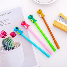 kawaii pens NZ - 10pc Cute Little Dinosaur Gel Pen Black Color Creative Signature Pen Kawaii Stationery School Office Supply HK0592