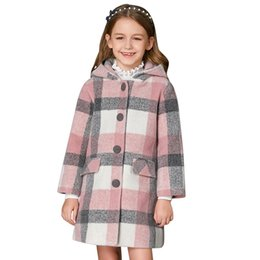 dcf9a36266 Girls plaid woolen coat winter clothes big children wool quilted thick  children s long section woolen coat hooded