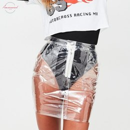 skirts zipper front UK - Hot Sale Bodycon Transparent High Waist Mini Skirt Women Waterproof Plastic Modal Pvc Front Zipper Pencil Short Skirts