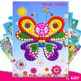 eva key NZ - 3D DIY Foam Mosaic Crystal Stickers Art EVA Children Puzzle Cartoon Creative Educational Toys For Kid 12 Style Select 40 Pcs Mix Wholesale