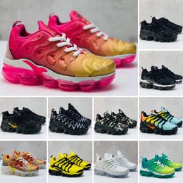 Wholesale 2018 kids Cushion Running Shoes Children boy girls tn Red pink Triple Black White Infant toddler Walking Sneakers