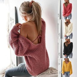 Discount backless sweater long sleeve - 2019 Winter Backless Sexy Sweater Women V Neck Long Sleeve Loose Knitted Pullovers Autumn Solid Casual Knitting Jumpers