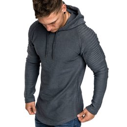 T Shirt Male Body Australia - Hot Summer Fashion Casual Men's Basic T Shirt Solid Pleated Shoulder Long Sleeve Body Building Hooded Male Basic T-shirt Top T