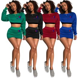 Dress top hooDie online shopping - C Letter Tracksuit Long Sleeve Crop Top Hoodies Short Dress Piece Outfits Summer Printed Skirt Set Jogger party wear AAA2226