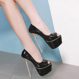 99be234f78ae New Sexy Women Pumps Personality 16 cm High heel Temperament High-heeled  shoes Peep Toe Pumps size 34-40 Apricot Black
