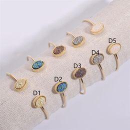 $enCountryForm.capitalKeyWord Australia - Oval Drusy Druzy Bracelet Cuff Gold Color Resin Druse Bangle Various Colors Faux Stone Women Jewelry