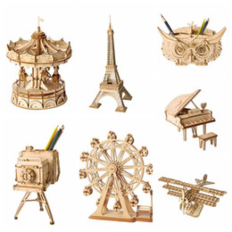 Vintage office accessories online shopping - Home Decoration DIY Wooden Miniature Figurine D Wooden Puzzle Assembly Vintage Model Accessories Desktop Decor Craft