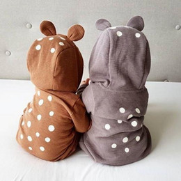 deer baby clothes boy Australia - Infant Baby Clothes Polka Dot Boy Hooded Romper Deer Newborn Girl Jumpsuit Zipper Toddler Outfits Christmas Baby Clothing Grey Brown DW4603