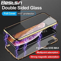 Discount iphone case gold sides - Double Sided Glass Magnet Case For iphone X XR Plus XS Metal Magnetic 360 degree Full Cover Case Coque With the Retail B