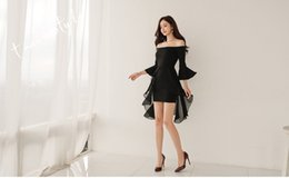 60918e4d2953 Black Summer 2019 Women Wear 3 4 Pagoda Sleeve sexy Off Shoulder Chiffon swallowtail  dress Irregular Short Skirt QC0203