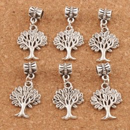 tree life pendant bracelet Australia - Antique Silver 31.9x16.8mm Tree of Life Big Hole Beads Charms Pendants 100pcs lot DIY Fit Bracelets Necklaces Jewelry Accessories Material