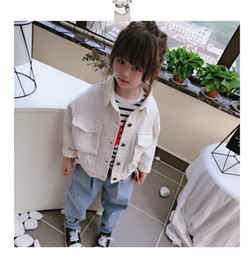 Jacket design girl online shopping - 2019 new autumn item girl cool jeans jacket with pocket design two colors