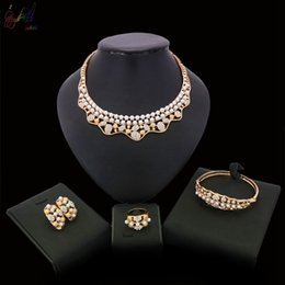 indian gold pearl necklace sets Canada - Yulaili Fashion Imitation Pearls Crystal Gold-color Necklace Earrings Bracelet Ring Alloy Jewelry Sets for Women Wedding Party Accessories