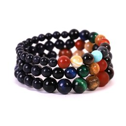 Wholesale Charms Universe Eight Planet Bracelets Handmade Women Yoga Beads Bangles mm Natural Stone Bracelet Jewelry Styles Christmas Gift M413F