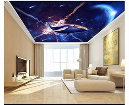 wallpapers for rooms Australia - Customized 3D Zenith Photo Ceiling Background Mural Dream Sky Universe Star Dolphin Living Room Ceiling Zenith Mural Wallpaper for walls 3d