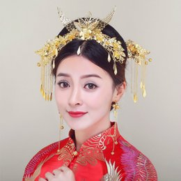 Coronet Hair Australia - Chinese Style Classical Wedding Jewelry Sets Bridal Headdress Phoenix Wings Hair Accessories Gold Color Comb Coronet Hairpins