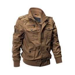 cargo military jacket NZ - Moruancle Mens Casual Cargo Jackets Military Style Flight Bomber Jacket And Coat For Man Outerwear Plus Size M-5xl Stand Collar T2190615
