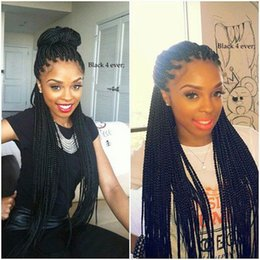 Glueless Wig Braids For Australia - Hot Sexy Natural Black Braided Wigs with Baby Hair Long Braids Full Wigs Glueless Synthetic Lace Front Wigs for Black Women Heat Resistant
