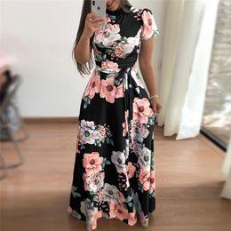 $enCountryForm.capitalKeyWord NZ - Women Summer 2019 Casual Short Sleeve Long Boho Floral Print Maxi Dress Turtleneck Bandage Elegant Dresses Vestido Q190524