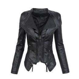$enCountryForm.capitalKeyWord Australia - Women Spring coat Black Fashion Motorcycle Jacket 2019 Outerwear faux leather PU Jacket Gothic faux leather coats