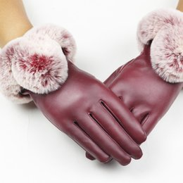 leather fur gloves NZ - 1 Pair Women's Glove Pu Leather suede Velvet Winter Driving Gloves Rabbit Fur Warm Outdoor Touch Screen Bow Gloves Mittens #38