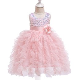 designer tutus UK - New girl dresses for wedding sequin tutu long baby girls dresses kids dresses baby princess dress baby girl designer clothes A6063