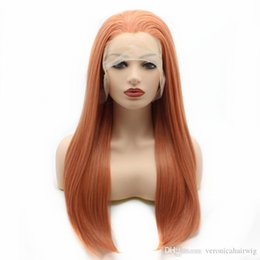 Discount golden hair color - Free Shipping 24inch Rose Golden Color Long Straight Hair 150% Density Glueless Synthetic Lace Front Wigs for Women Heat