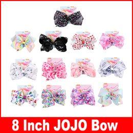 $enCountryForm.capitalKeyWord Australia - 8 Inch Jojo Siwa Hair Bows Jojo Bows With Clip For Baby Children Large Sequin Bow Unicorn hair Bows