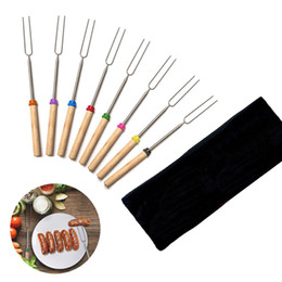$enCountryForm.capitalKeyWord NZ - Barbecue Bonfire Camping Tools Bake Fork Forks Sticks Needle Spit TOO BBQ Roast Stainless Steel Fork Wooden Handle 8pcs set