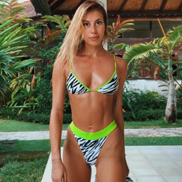 small gathered bikini 2019 - Designer Swimsuit Sexy Swimwear For Women Green Side Swimsuit Female Summer New Small Chest Gathered 3 Points Two Sets B