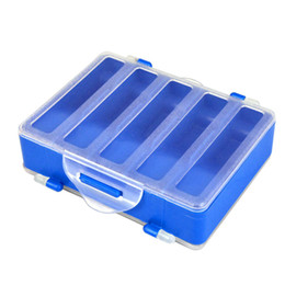 Discount tackle beads - 10 Compartments Double Fishing Tackle Box Sided Transparent Visible Plastic Fishing Explosion Hook Swivels Beads Pesca S