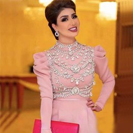 $enCountryForm.capitalKeyWord Australia - Unique Pink Jumpsuit Evening Dress Muslim Prom Dresses High Neck Long Sleeve Crystal Outfit Casual Clothes Satin Arabic Dubai Party Gowns