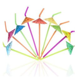Pack Umbrellas Australia - 50PCs  Pack Tropical Umbrella Straws Disposable Bendable cocktail vinho Drinking Straws for Party Bar Wine Styling Decoration