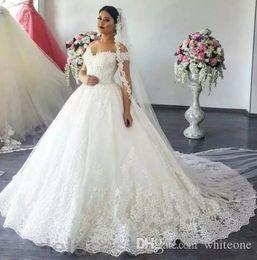 Empire Style Wedding Gowns Australia - 2019 New Styles A-Line Wedding Dresses Off Shoulder Sweep Train lace Appliques Garden Chapel Bridal Gowns Arabic vestido de novia Plus Size