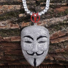 Chinese  Top Quality Luxury White Gold Full Cubic Zirconia Mens Vendetta Male Leading Role Mask Portrait Twist Chain Necklace Bling Diamond Jewelry manufacturers