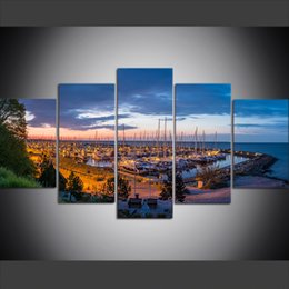 5 Piece Large Size Canvas Wall Art Pictures Creative Germany Bay Yacht Poster Art Print Oil Painting for Living Room on Sale