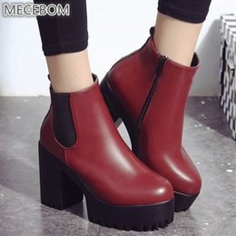 f19a314aae07 2018 Winter Flock High Heel Wedge Platform Sexy Short Ankle Moccasins  Motorcycle Botas Feminina Women Shoes Zapatos Mujer 228w